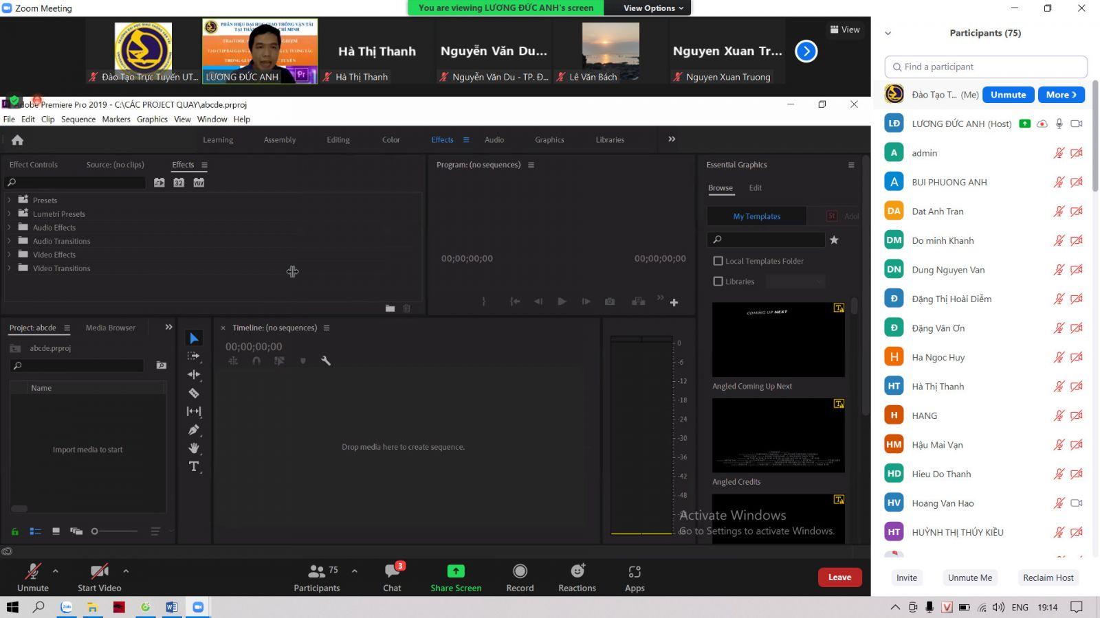 Trao đổi, học tập kinh nghiệm về tạo video clip bài giảng và sử dụng một số công cụ tương tác trong giảng dạy trực tuyến